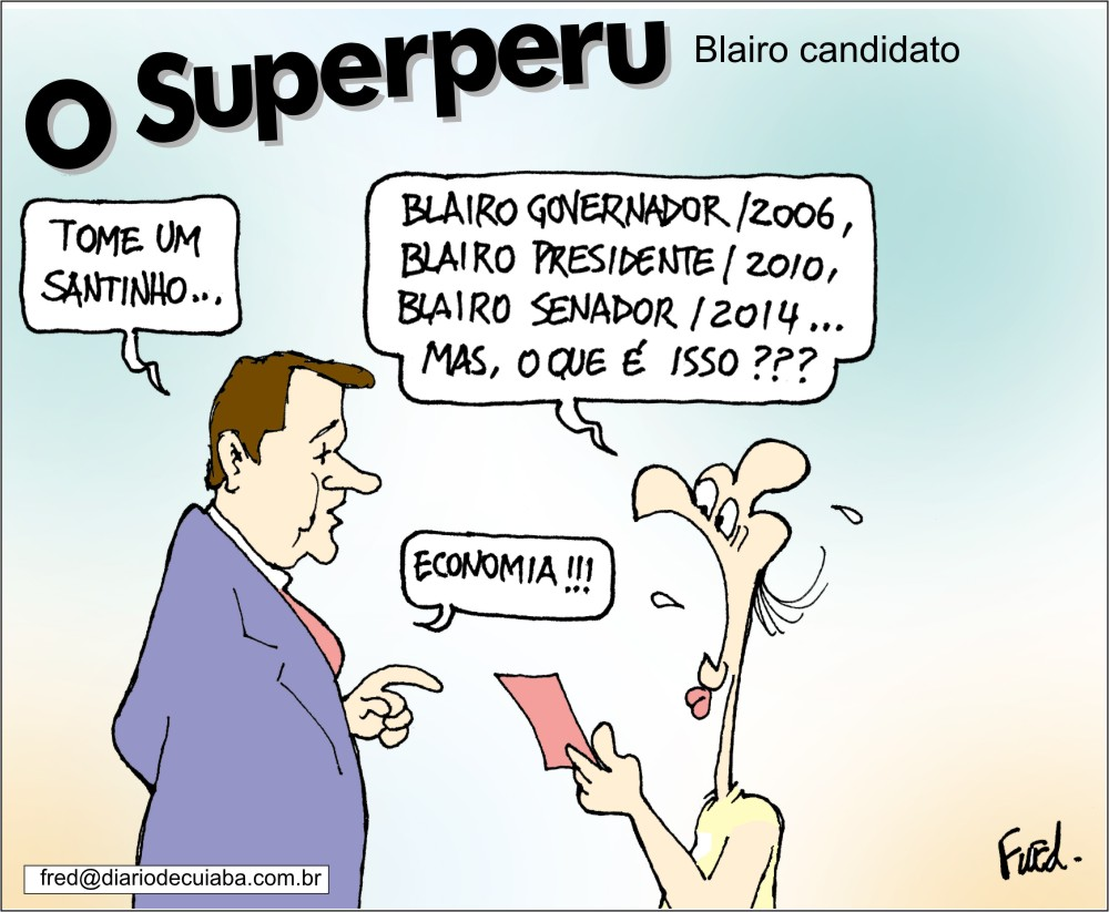 Blairo em charge publicada no Diário de Cuiabá de 12 de novembro de 2002