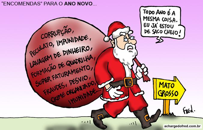 Natal em Charges! Charge publicada no Midianews em 17 de dezembro de 2011